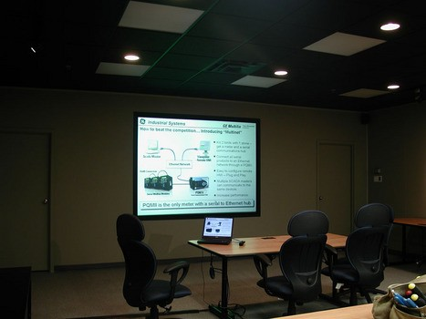 Rear projection screen was custom fitted into existing boardroom wall