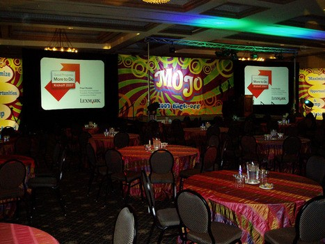 Large venue staging with dual projection, lighting and sound system
