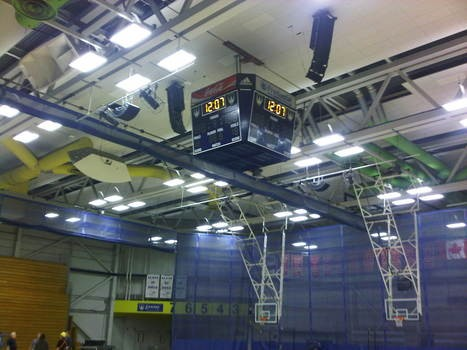 University of Windsor Fieldhouse Stadium line array speaker installation